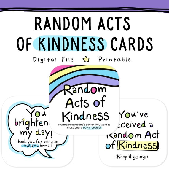 image regarding Random Act of Kindness Printable known as Printable Random Functions of Kindness Playing cards RAOK, Shell out It In advance, Do it yourself Printable, Furnishing, Graude.