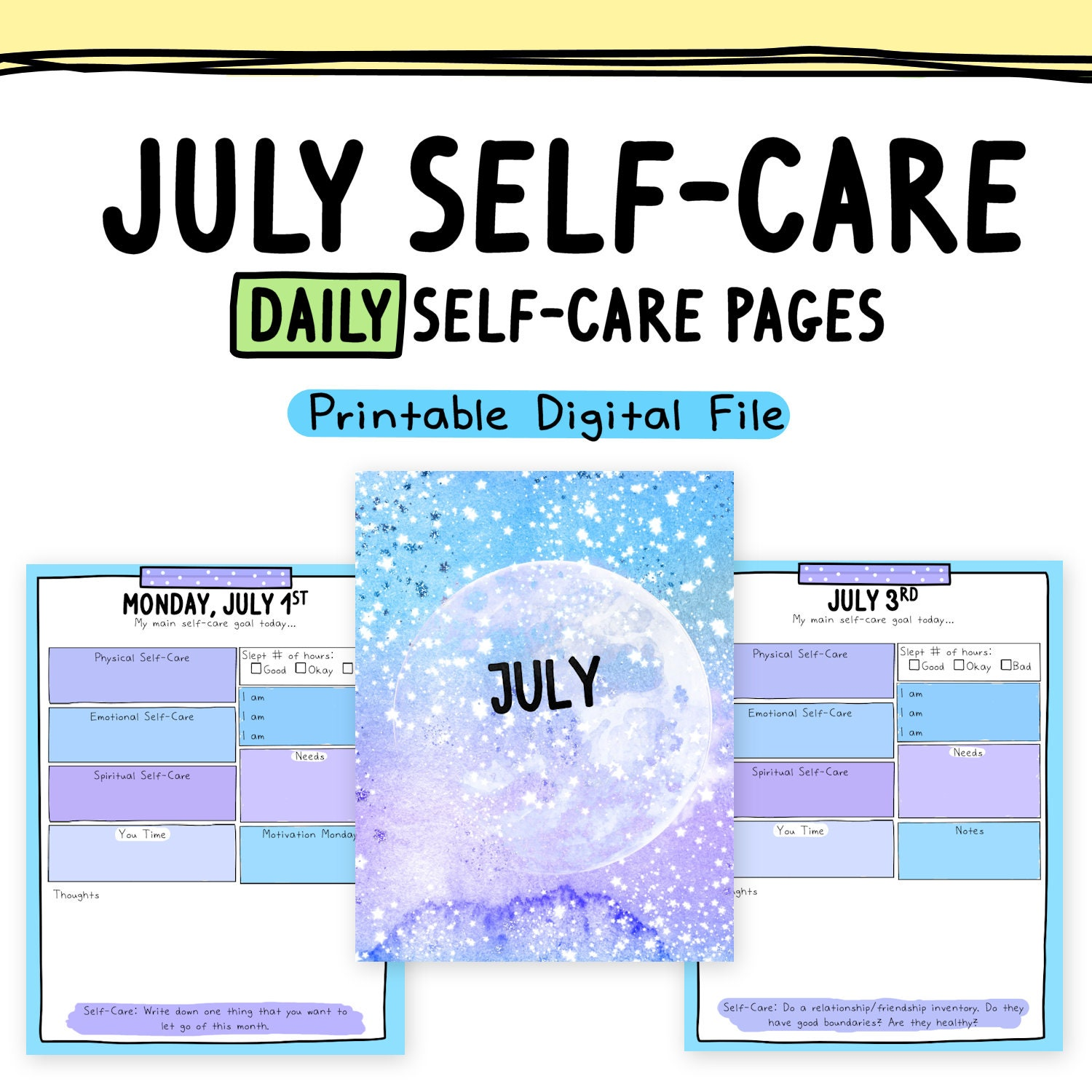 - Daily Self-Care Worksheets July Self-Love Goals Etsy