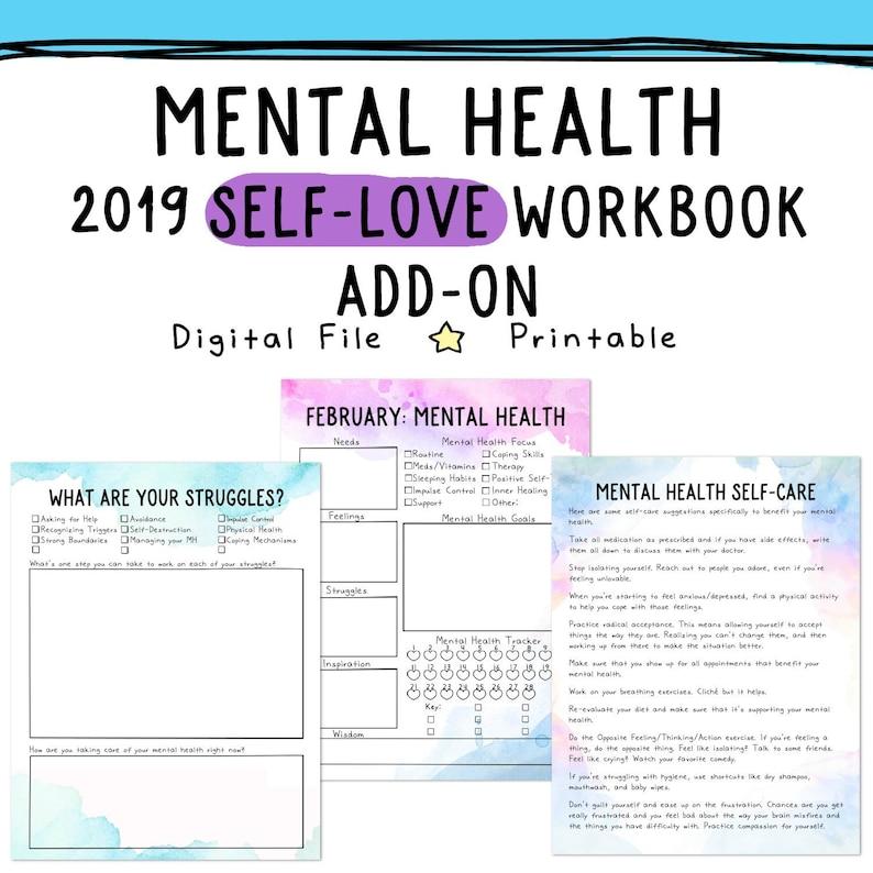 Mental Health: 2019 Self-Love Workbook Add-On Depression ...
