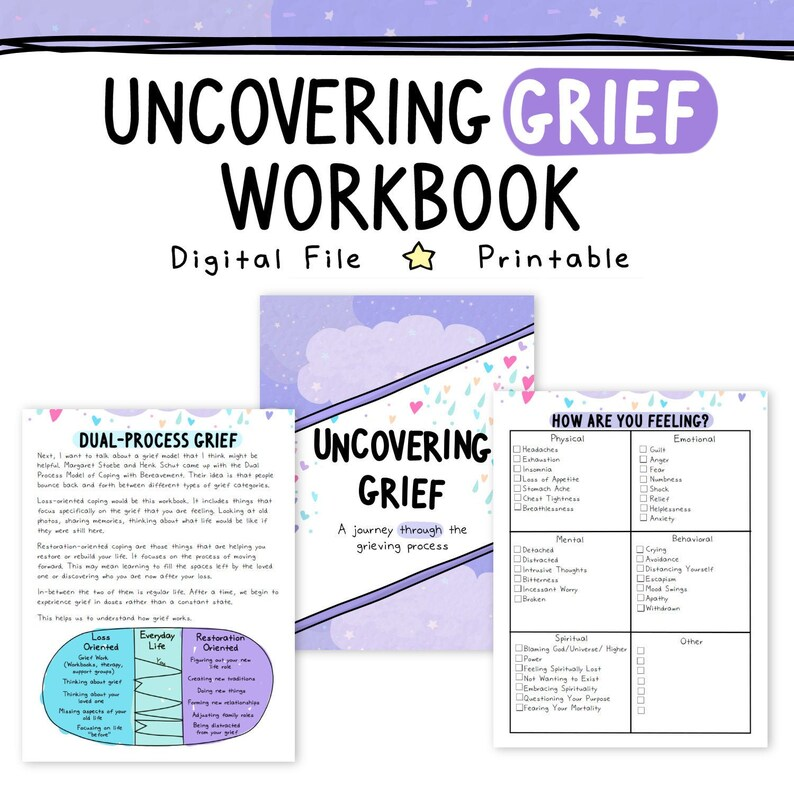 image regarding Printable Grief Workbook titled Uncovering Grief Grief Workbook Remembrance Reduction