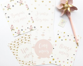 """Pack my first year """"Sweet pink"""" (14 cards)"""