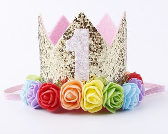 Birthday Crown - Gold glitter party hat for babies 1st or 2nd birthday  celebration cb643f09598c