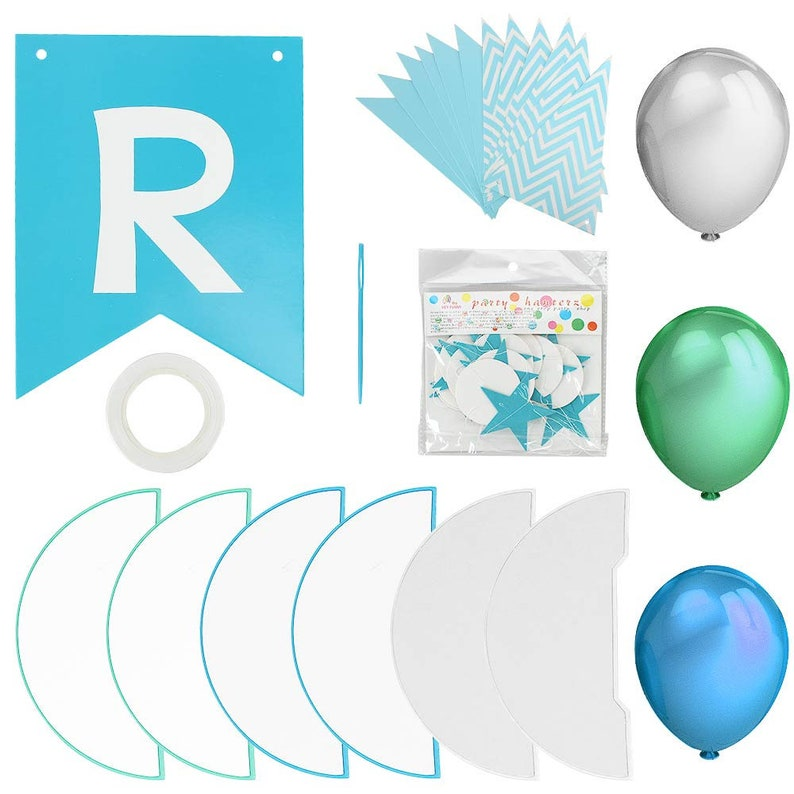 For her Birthday Party Decorations Balloons For Him Banner Green /& white Birthday Supplies Kit Blue Garland 1st birthday Paper Fans