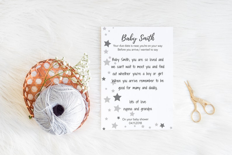 Personalised Baby Shower guest book alternative with stars Instant download or Hardcopy print x 10