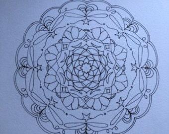 digital, printable hand drawn mandala