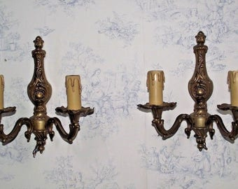 Pair of French Brass Floral Design Double Wall Sconces - French Vintage. Floral Design. French Wall Sconce.
