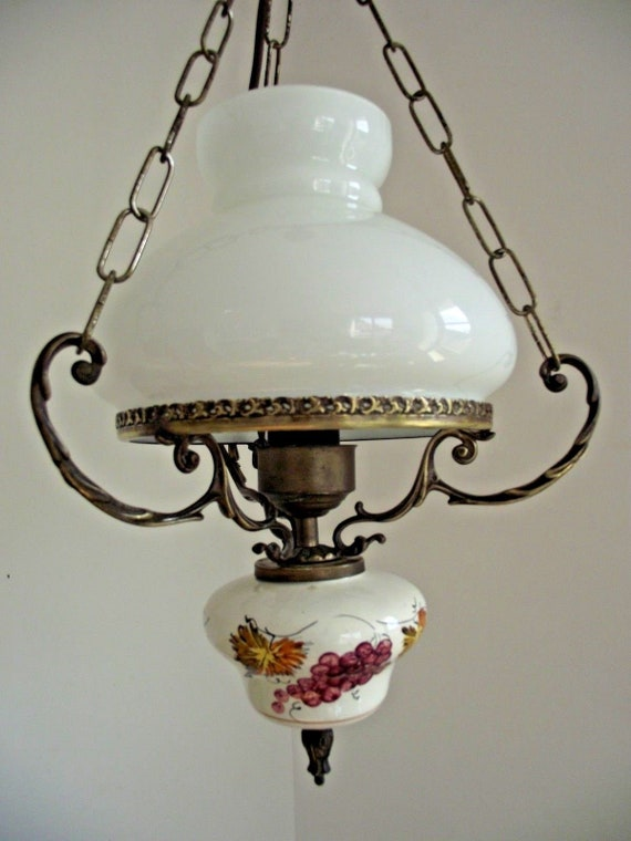 Vintage 3 Chain Shade Antique Translucent White Glass Ceiling Light No Chips