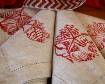 Napkins, Cloth, Dinner, Set of 4, Embroidered with Seashells, Rustic, Linen and Embellished with Hemstitch, Hostess or Birthday Gift