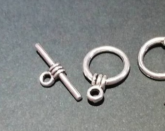 7 toggle clasps / round / 15 x 11 mm / set of 7 / silver