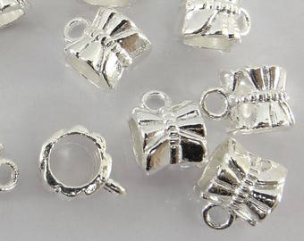 11.5x6mm - set of 10 carved round bails - silver