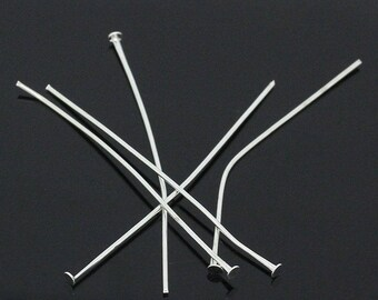 200 pins/nails flat, 5 cm, light silver