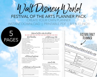 Epcot Festival of the Arts Planner Bundle - Create Your Own Walt Disney World Printable Planner - INSTANT DOWNLOAD Planning 8.5x11 Paper