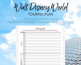 Walt Disney World Touring Plan - Create Your Own Walt Disney World Printable Planner - INSTANT DOWNLOAD Planning Letter Size 8.5x11 Paper