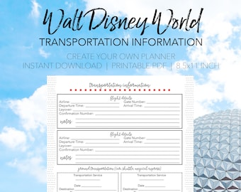 Disney World Transportation Info - Create Your Own Walt Disney World Printable Planner - INSTANT DOWNLOAD Planning Letter Size 8.5x11 Paper