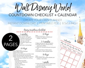 Disney World Planning Checklist - Create Your Own Walt Disney World Printable Planner - INSTANT DOWNLOAD Planning Letter Size 8.5x11 Paper