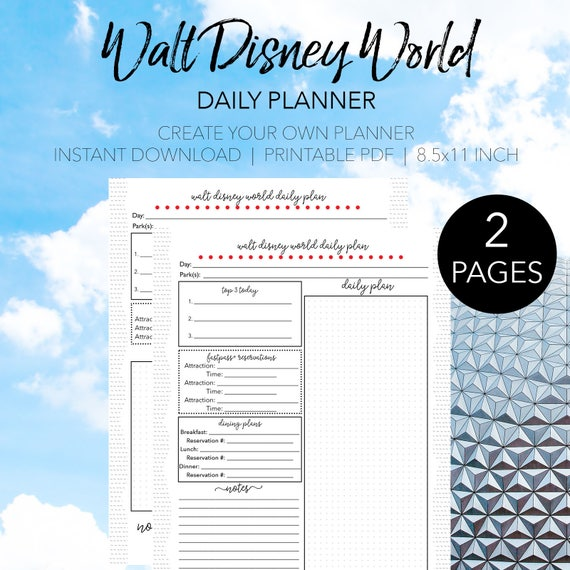 disney world daily trip planner create your own walt disney etsy