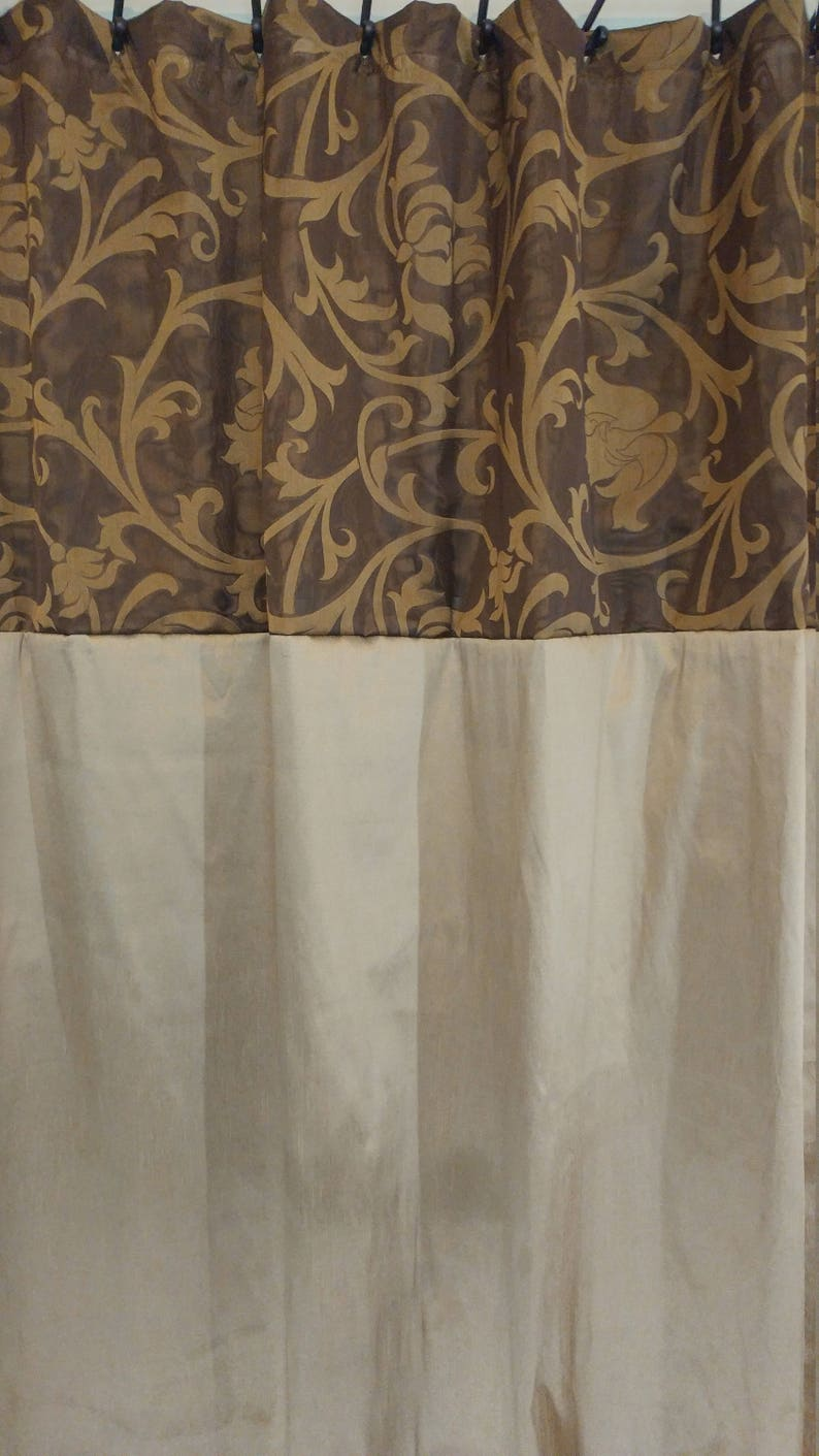 Charmant Elegant Fabric Shower Curtain In Shades Of Brown And Gold | Etsy