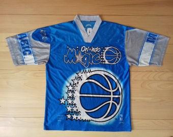 27f94d8fc 1990s Vintage Orlando Magic Jersey T-Shirt Blue Color nba polyester 100% rap  hip hop basketball techno rage Size XL
