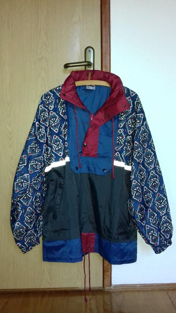 90s Vtg Pullover SHAMP Windbreaker Bomber Jacket Old School Hip Hop Rap outdoor jogging nike adidas kappa fila Size M