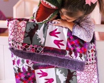 Pink Dinosaur Blanket - Patchwork - Pink Dinosaurs - Nursery Bedding - Baby  Shower Gift - Baby Girl Shower - Minky Blanket - Baby Blanket 41ad9b622