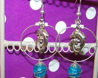 turquoise glass caged bead Dolphin earrings