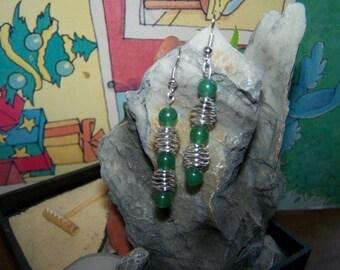 Earrings stone semi precious green jade