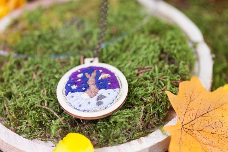 Rabbit on the moon Embroidered necklace