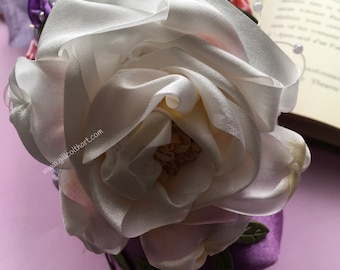 Decorated Purple Pointe Shoe with Silk Rose & Flowers