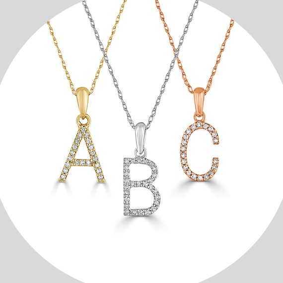 Diamond Initial 14K Gold Necklace 110 CTW Personalized Gift  Graduation Gift Anniversary Gift Mother/'s Day Gift by Joelle Collection