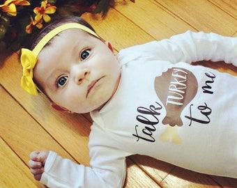 Talk Turkey to Me / Thanksgiving / Baby Bodysuit / Baby Boy / Baby Girl / Toddler T-Shirt / Toddler Shirts / Kids' Clothing / Holiday