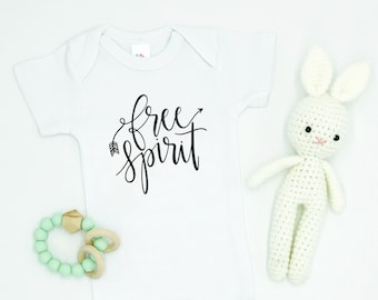Free Spirit / Baby Bodysuit / Baby Clothes / Toddler T-Shirt / Kids' Clothing / Bohemian / Trendy / Girls' Clothing / Boys' Clothing