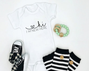 Hi, I'm New Here / Baby Bodysuit / Baby Clothing / Baby Boy / Baby Girl / Baby Gift / Baby Shower / Newborn / Coming Home Outfit