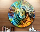 Paths of Stained Glass - Circle Music Metal Wall Art - Circle Wall Art- Round Wall art - Round metal art MT6045