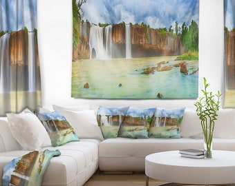 Designart Dry Nur Waterfall Panorama Photography Wall Tapestry Art Fit For Hanging Dorm Home Decor