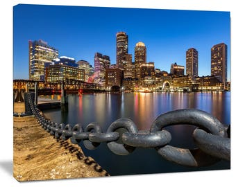 Boston Skyline at Dusk - Cityscape in Landscape Canvas Art Print and Metal Wall Art in Different Sizes (PT8625) & Boston skyline canvas | Etsy