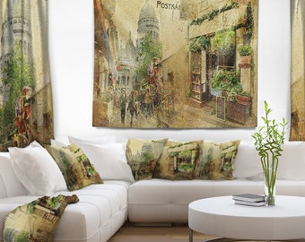 Designart Vintage Parisian Cards Contemporary Wall Tapestry, Wall Art Fit  For Wall Hanging, Dorm, Home Decor