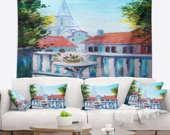Designart Paris Eiffel Tower Landscape Wall Tapestry, Wall Art Fit for Wall Hanging, Dorm, Home Decor