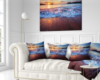 Blue Sea Waves during Sunset' Seashore Throw Pillow Insert and Cushion Pillow Cover (CU14648)