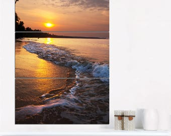 White Foaming Waves at Sunset  Canvas Art Print and Metal Wall Art Available in Different Sizes (PT10437)