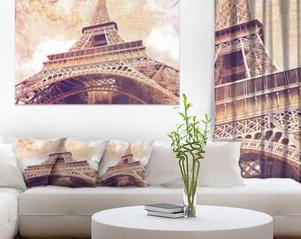 Paris Paris Eiffel TowerParis Postcard Design in Cityscape Canvas Art Print and Landscape Metal Wall Art  (PT10129)