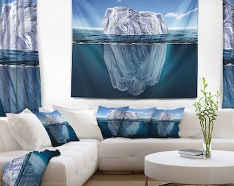 Designart Melting Iceberg Seascape Photography Wall Tapestry, Wall Art Fit for Wall Hanging, Dorm, Home Decor