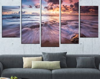 Beautiful Sea Waves At Sunset  Canvas Art Print and Metal Wall Art Available in Different Sizes (PT13057)
