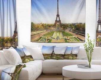 Designart Wide View of Paris Eiffel Tower Landscape Photography Wall Tapestry, Wall Art Fit for Wall Hanging, Dorm, Home Decor
