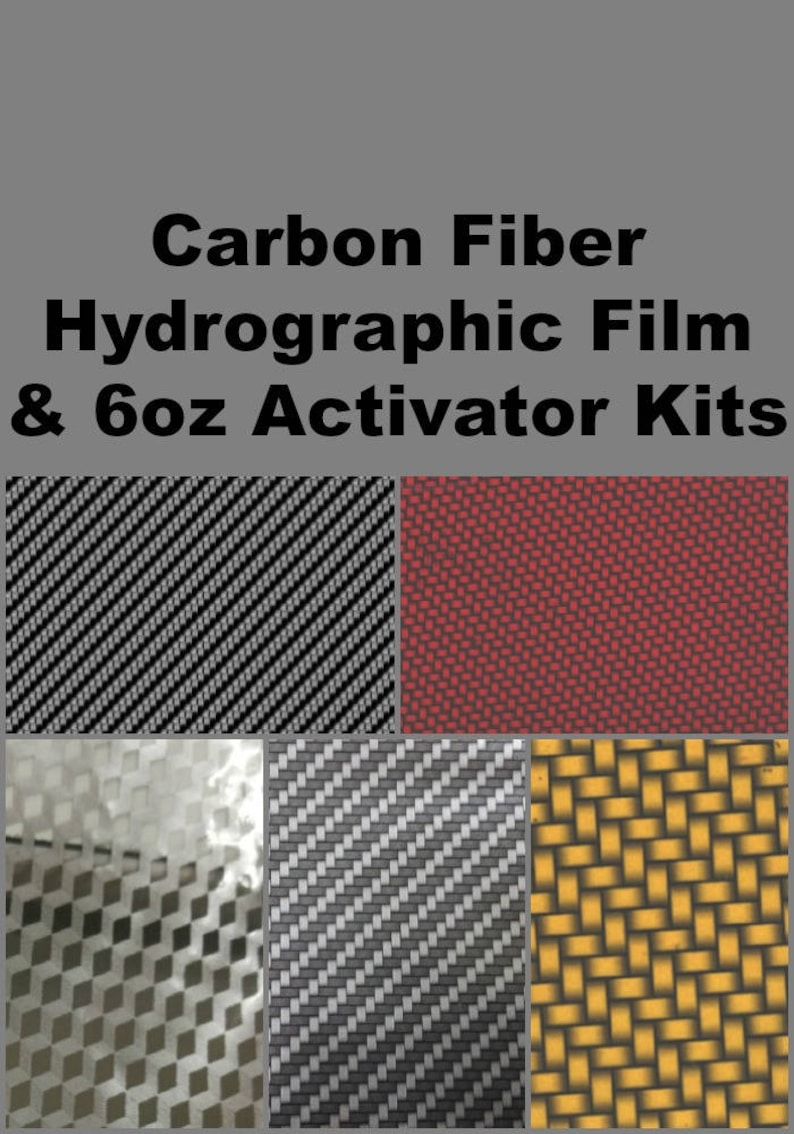 Hydrographic Dip kit with 6oz activator and 1 Linear Meter of Hydrographic  Film Carbon Fiber Hydro Film Prints