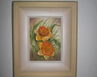 Painting still life with flowers (yellow daffodils) leather oil.