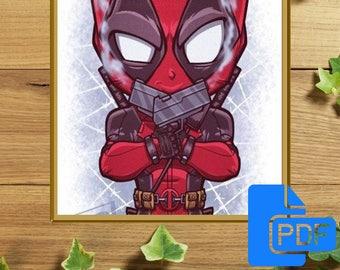 Deadpool cross stitch pattern Marvel cross stitch Cute Cross Stitch Pattern PDF pattern