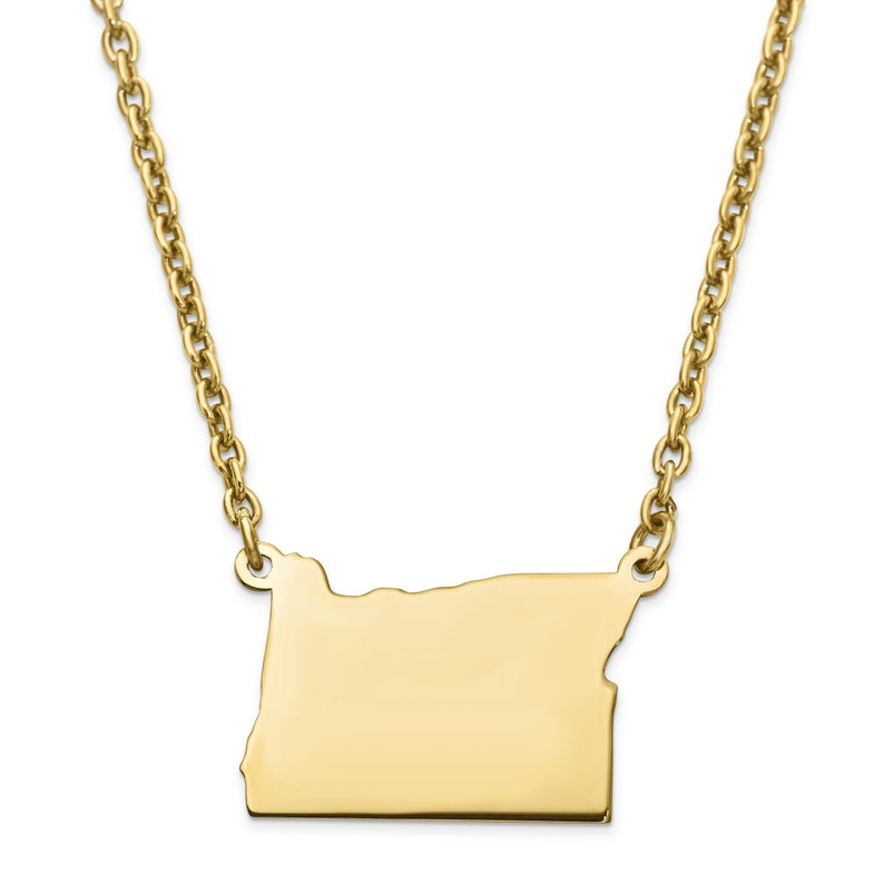 Silver Gold Plated OR State Pendant with chain