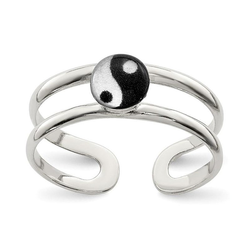 Sterling Silver Enameled Yin Yang Toe Ring