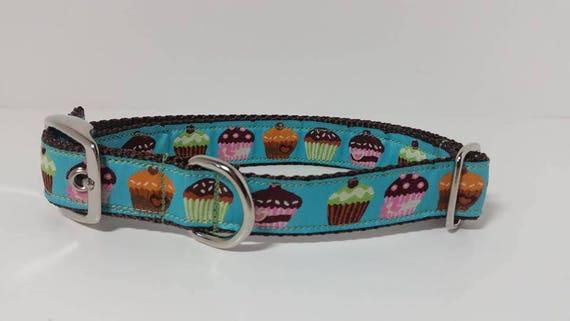 1 pouce métal boucle de chien, collier de chien de Cupcakes, anniversaire chien collier, ruban Jacquard, en plastique boucle, Martingale