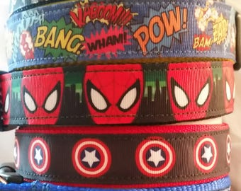 Super Hero Dog Collars - 1 inch Wide